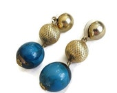Vintage Dangle Earrings with Marbled Blue Lucite and Etched Gold Beads