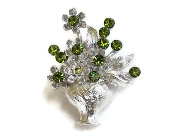 Green Rhinestone Flower Bouquet Brooch Vintage in Silver Tone Vase