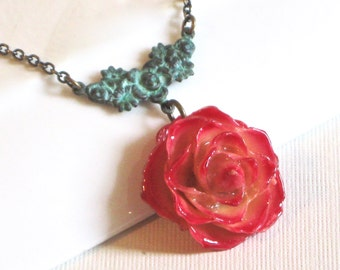 Real Rose Necklace -  Cream and Red Rose,  Flower Jewelry, Natural Preserved, Nature Jewelry