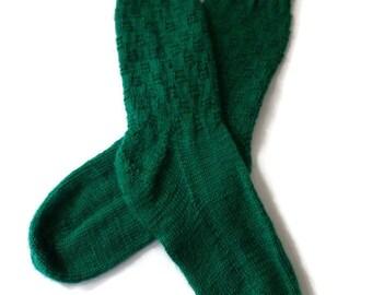 Socks - Hand Knit Women's Bright Green Checkerboard Socks - Size 7-8 - Casual Socks - Spring Socks