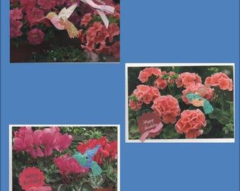 Handmade Hummingbird iris fold Thinking of you- 3 variations-Free ship USA