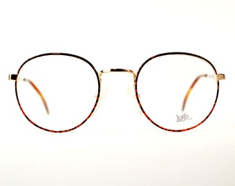 Vintage Round 1980s Gold Metal Eyeglasses Metallic Red Splash Preppy P3 Harry Potter Glasses Optical Frame France NOS