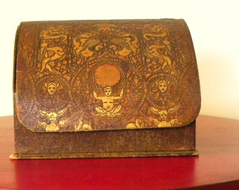 Antique Hand Tooled Leather Letter Box