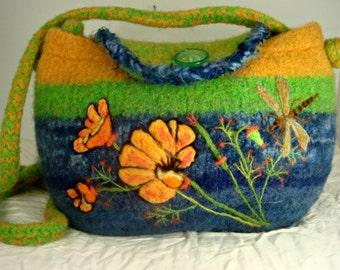 Felted Purse, felted handbag, poppy art, dragonfly art, needle felt flower