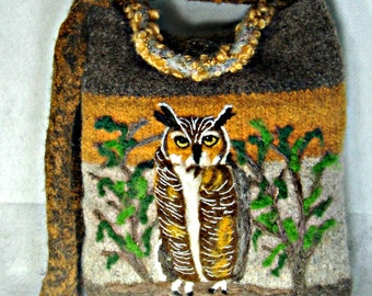 Felted Purse, Felted Tote, Owl Art, Great Horned Owl, Needle Felt Owl