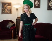 THANKSGIVING SALE - Vintage 1940s Dress - Stunning Black Rayon Peplum 40s Dress with Neon Green, Pink and White Polka Dots