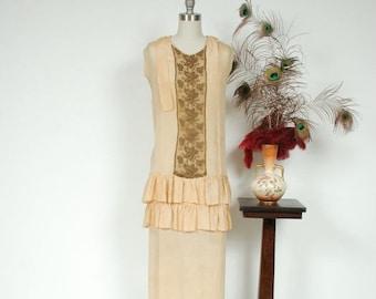 SALE - Vintage 1920s Dress - Palest Yellow Silk Drop Waist Picnic 20s Dress with Gold Metallic Lamé Lace and Ruffles - Autumn Helios