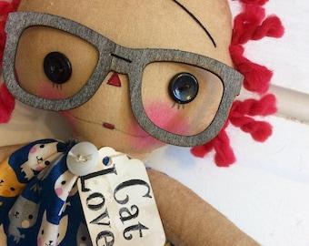 Cat lover Raggedy Ann - Raggedy Annie - ragdoll - kitty cat - Raggedy Ann Doll - cat doll - cat lady-