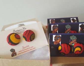 Red fabric earrings, Red button earrings, Button earrings, African fabric earrings, Fabric earrings, Button jewelry, African jewelry, Gifts