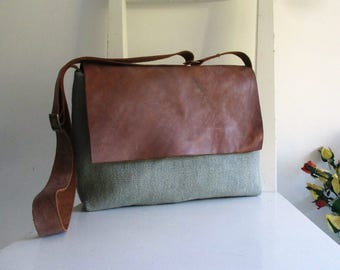 Khaki Satchel with a Leather Flap