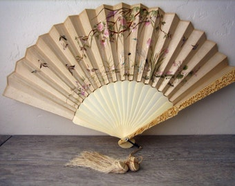 Antique Chinese Bone Folding Fan ~ Embroidered on Both Sides with Different Scenes ~ Detailed Carved Bone ~ Wedding ~ Anniversary