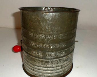 Blow Out Sale Vintage Flour Sifter - Bromwells 5 Cup Sifter - Metal Turn Crank Sifter - Baking Sifter - Red Wood Handle - Vintage Kitchen Ut
