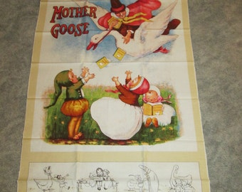 Mother Goose--Fabric Panel--By Vintage Workshop--Indygo Junction--For Red Rooster--19691--Wall Hanging--Baby Quilt--Nursery