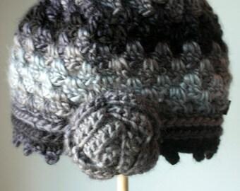 Beanie crochet hat Rose hat, Grey
