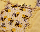 Bumble Bee Flannel Rag Edge Quilt 30in by 40in Handmade for Babies, Toddlers and Kids