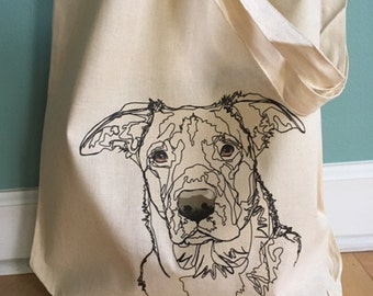 Dog Tote Bag, Tote Bag, Reusable Tote Bag, Dog Art Bag, Organic Cotton Tote Bag, Printed Tote Bag, Rescue dog, Gift Bag, Market Bag