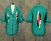 vintage 60s Chimayo Coat - 1960s Turqoise Wool Ortegas Chimayo Poncho Southwestern Fringe Cape Sz L XL