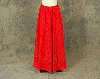 vintage 70s Maxi Skirt - 1970s Pleated Red Lace Long Skirt Avant Garde Maxi Sz S M