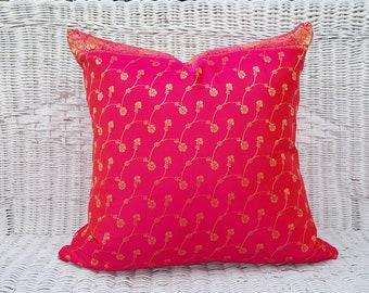 Hot Pink Pillow Covers, Pink Decorative Pillows, Fuchsia Throw Pillows, Iridescent Pink Gold Cushions, Bohemian Sari Pillow, 20x20, NEW
