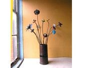 Tall Flower Vase Industrial Gift Metal Vessel Dry Flower Holder Table Centerpiece Steampunk Wedding Restaurant Decor Office Counter Display