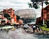 Reserved for Laura. Artist Aldo Raimondi Vintage Fine Print Picture Roma Via Dei Fori Imperiali Ed Il Colosseo Italy Water Color Rare 1950s