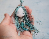 Little Mermaid , Art Doll Brooch, Woodland Fairy Tales