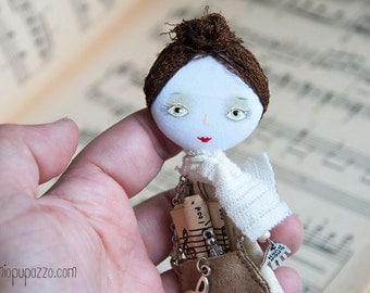 Art Doll Brooch Girl, Young Musician, mixed media collage, gift for her