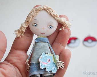 Pokemon Girl, Art doll brooch, Personalized gift for her
