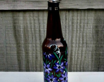 Dish Soap Dispenser,  Recycled Brown Beer Bottle, Painted Glass, Oil and Vinegar Bottle, Shades of Purple Flowers