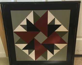 PriMiTiVe Hand-Painted Barn Quilt,  Small Frame 2' x 2' - Double Aster Pattern (Old Mill Version)