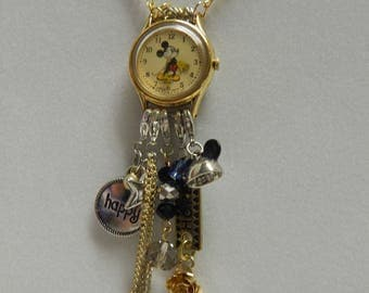Up Cycled Repurposed Disney Steampunk Watch Necklace Mickey Mouse