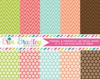 50% OFF SALE Digital Paper Pack Commercial Use Chevron Patterns and Polka Dots