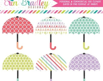 50% OFF SALE Clipart Umbrellas Weather Baby or Bridal Shower Graphics Personal & Commercial Use