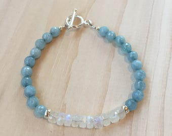 Faceted Aquamarine and Moonstone Bracelet