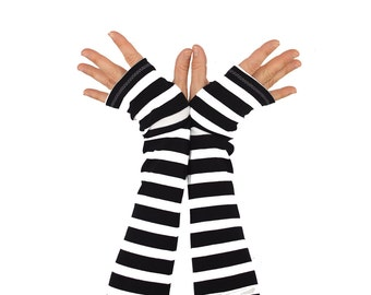 Arm Warmers in Bold Black and White Stripes - Cotton Fingerless Gloves - Sleeves