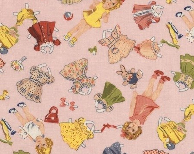 Pink Dolly Paperdoll Children's Cotton Fabric by Timeless Treasures 44 inches wide