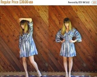 extra 30% off sale . . . Lurex Striped Bell Sleeve Mini Dress - Vtg 70s - M/L Petite