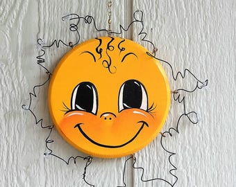 Happy Hanging Star , Handcrafted , Hand Painted , Patio Decoration or Room Decor Sun Catcher