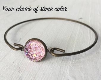 Bronze Druzy Bracelet, Druzy Bangle, Brass Bangle, Stacking Bracelet, Personalized Bracelet, Druzy Jewelry