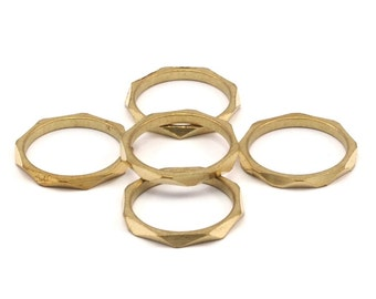 Brass Faceted Ring, 12 Raw Brass Faceted Rings, Connectors (16mm) N499