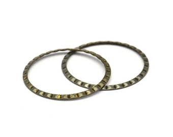 Boho Brass Binding, 20 Antique Brass Connector Rings  (25mm) Pen 661 K063