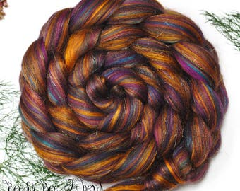 CINNAMON TEAL - Custom Blend Merino and Mulberry Silk Combed Top Wool Roving for Spinning or Felting in bright colors -4 oz