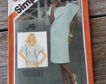 Uncut Simplicity 6324, Dress or Top, Sizes 12 14 16, Flutter Sleeves, Square Neckline, 1980s Fashion