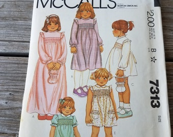 McCall's 7313, Toddler Dress, Bag Pattern, Toddler Girl Pattern, Size 1, Uncut Vintage Pattern