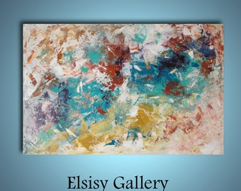 Original large abstract painting palette knife wall art deco by Elsisy 36x24 Free US shipping