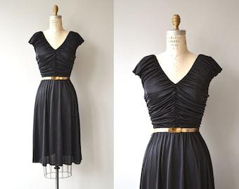 Night By Night dress | vintage 1970s dress | disco little black 70s dress