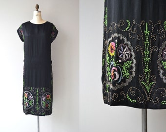 Midnight Garden dress | vintage 20s beaded dress | black silk 1920s dress