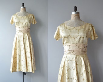 Goldenbloom dress | vintage 1950s dress | gold floral 50s dress
