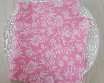 Cloth Napkins Floral Butterflies Pink White Set of 4