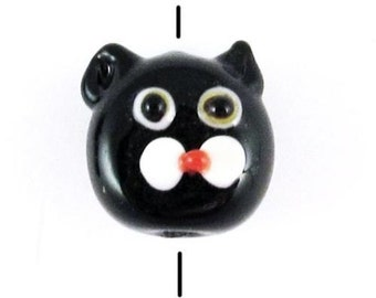 Lampwork Glass Kitty Beads-Black Cat Face Set 13x15mm (6 Pieces)